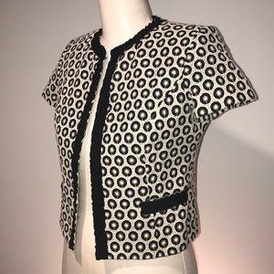 MILLY Jacket Blazer sz 8 Black White Short Sleeve